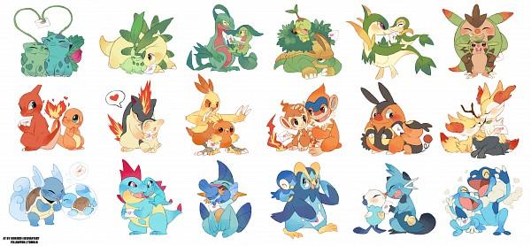Tags: Anime, suikuzu, Pokémon, Charmeleon, Froakie, Bulbasaur, Chimchar, Tepig, Quilladin, Mudkip, Combusken, Wartortle, Fennekin