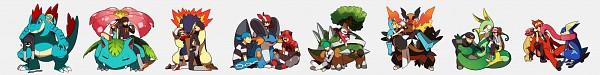 Tags: Anime, Onuko (Pixiv1861313), Pokémon, Typhlosion, Team Galactic Underling (Male), Kris (Pokémon), Emboar, Team Magma Underling, Feraligatr, Plasma-dan Shitappa (Male), Kotone (Pokémon), Serperior, Greninja
