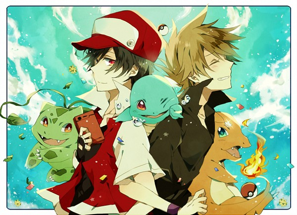 Tags: Anime, Pixiv Id 3703525, Pokémon, Charmander, Squirtle, Bulbasaur, Green (Pokémon), Red (Pokémon), Fanart, Fanart From Pixiv, PNG Conversion, Pixiv