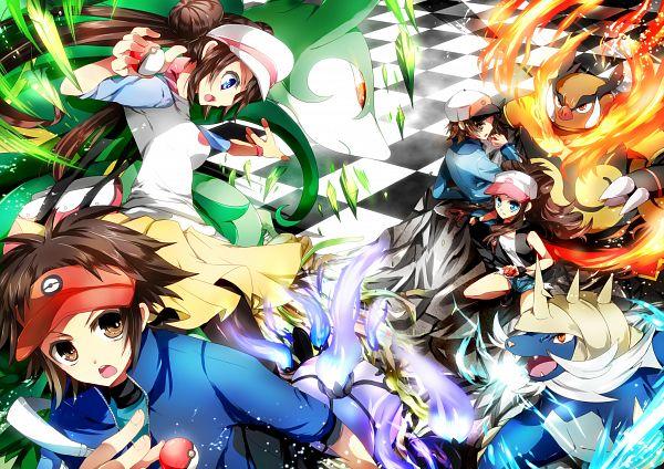 Tags: Anime, Akatsuki Yakyou, Pokémon, Chandelure, Emboar, Kyouhei, Mei (Pokémon), Samurott, Touko (Pokémon), Touya (Pokémon), Serperior, Yellow Skirt, Pixiv