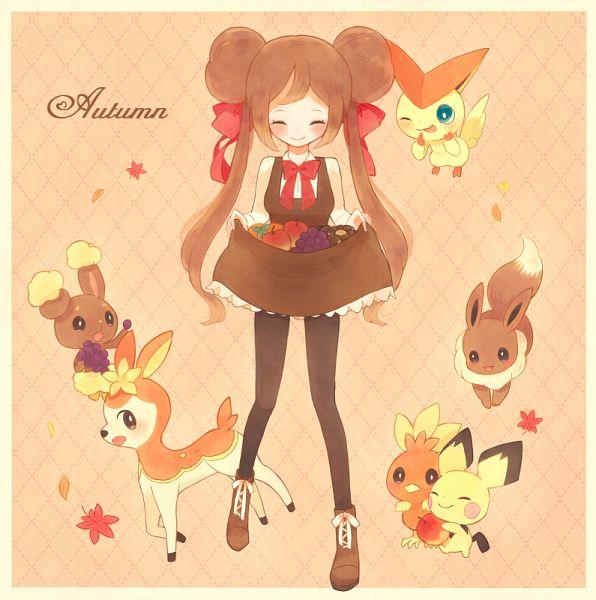 Tags: Anime, Pixiv Id 1558353, Pokémon, Deerling, Victini, Eevee, Buneary, Pichu, Torchic, Mei (Pokémon), Brown Dress, Deer, Fanart