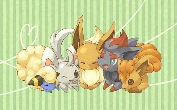 Tags: Anime, Amarisu, Pokémon, Vulpix, Eevee, Minccino, Mareep, Zorua, Fanart, PNG Conversion, Pixiv, Wallpaper, Fanart From Pixiv