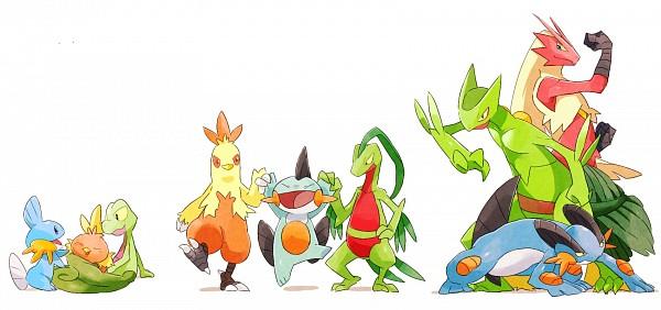 Tags: Anime, Pixiv Id 3551702, Pokémon, Marshtomp, Grovyle, Treecko, Combusken, Torchic, Blaziken, Swampert, Mudkip, Sceptile, Fanart From Pixiv