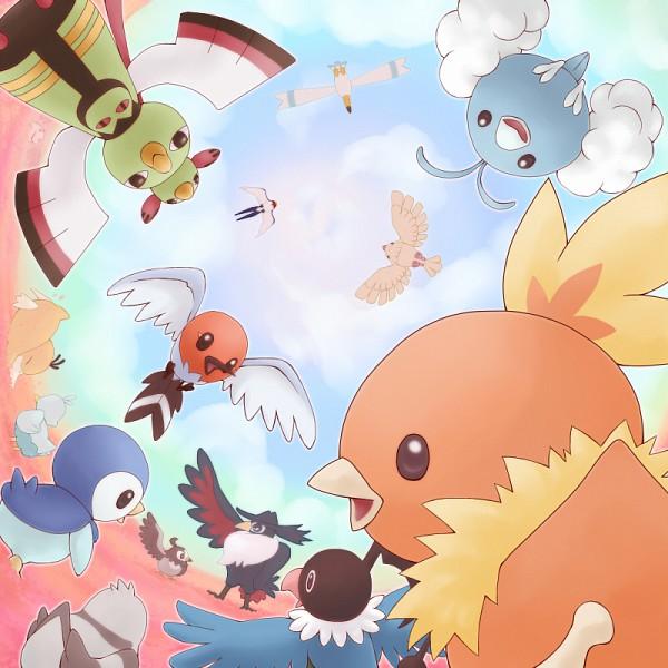 Tags: Anime, Pixiv Id 855467, Pokémon, Chatot, Ducklett, Psyduck, Starly, Torchic, Natu, Swablu, Taillow, Pidove, Pidgey