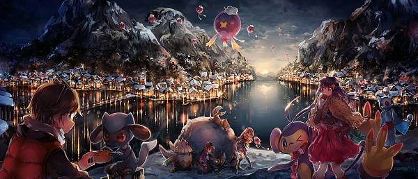 Tags: Anime, Namie-kun, Pokémon, Luxray, Buizel, Serena (Pokémon), Drifblim, Snover, Drifloon, Calme (Pokémon), Hikari (Pokémon), Froslass, Riolu
