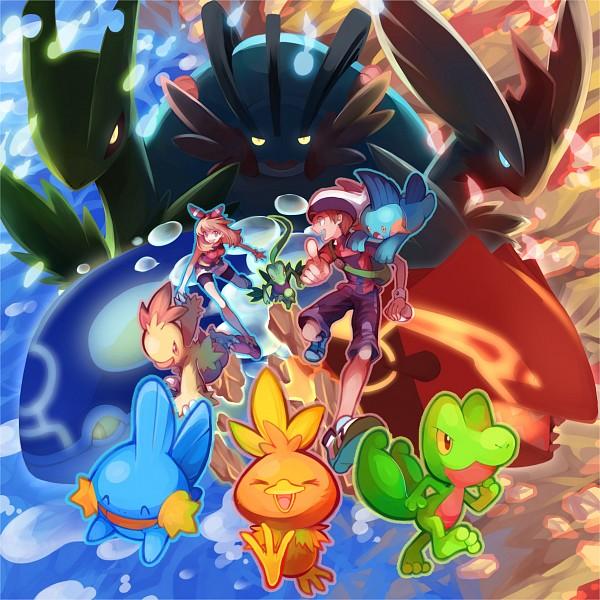 Tags: Anime, Pixiv Id 842378, Pokémon, Blaziken, Groudon, Swampert, Kyogre, Haruka (Pokémon), Sceptile, Yuuki (Pokémon), Grovyle, Mudkip, Treecko