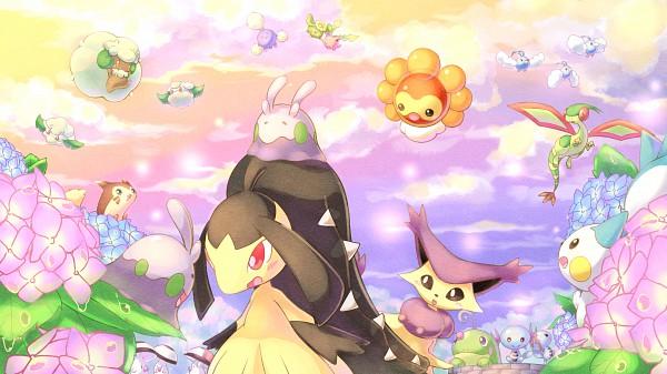 Tags: Anime, Pixiv Id 5706880, Pokémon, Flygon, Delcatty, Jumpluff, Mawile, Wooper, Goomy, Hoppip, Castform, Furret, Swablu