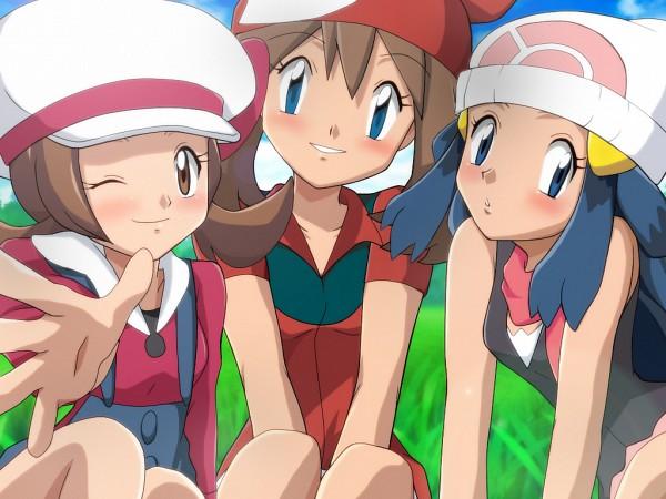 Tags: Anime, Pixiv Id 3350938, Pokémon, Kotone (Pokémon), Haruka (Pokémon), Hikari (Pokémon), Fanart From Pixiv, Wallpaper, Fanart, Pixiv