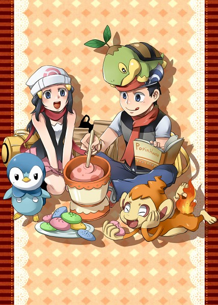 Tags: Anime, Pixiv Id 3250396, Pokémon, Piplup, Hikari (Pokémon), Chimchar, Turtwig, Kouki (Pokémon), Poffin