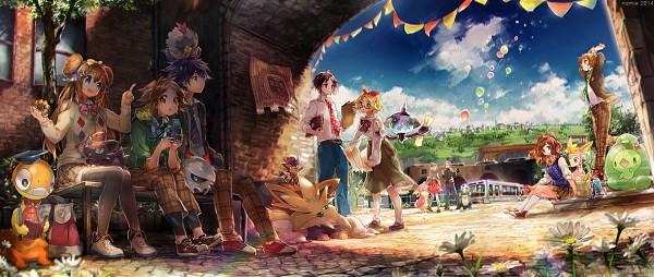 Tags: Anime, Namie-kun, Pokémon, Hue, Leaf (Pokémon), Audino, Deerling, Mei (Pokémon), Zorua, Duosion, Bel (Pokémon), Fire (Pokémon), Rufflet