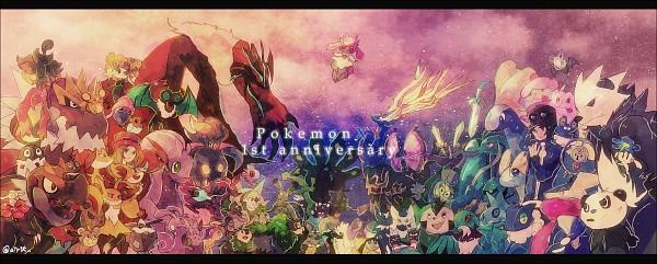 Tags: Anime, Okii, Pokémon, Gogoat, Delphox, Litleo, Noibat, Dedenne, Floette, Calme (Pokémon), Amaura, Diggersby, Vivillon