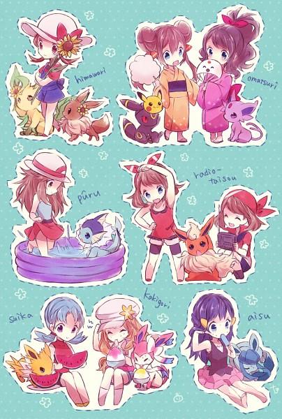 Tags: Anime, Kabocha Torute, Pokémon, Leafeon, Flareon, Kris (Pokémon), Umbreon, Haruka (Pokémon), Kotone (Pokémon), Sylveon, Espeon, Hikari (Pokémon), Eevee