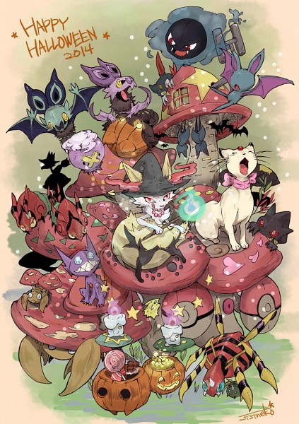 Tags: Anime, Pixiv Id 2802585, Pokémon, Parasect, Noibat, Murkrow, Zubat, Paras, Braixen, Spinarak, Venipede, Ariados, Banette
