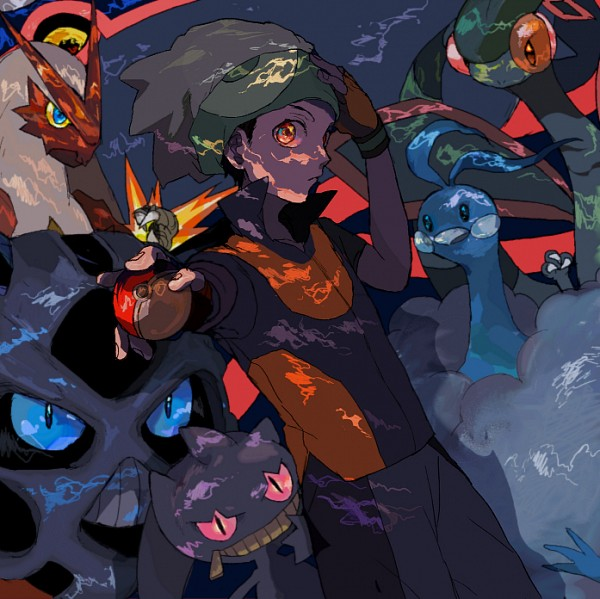 Tags: Anime, Pixiv Id 857967, Pokémon, Altaria, Glalie, Kyogre, Yuuki (Pokémon), Blaziken, Flygon, Banette, Pixiv, PNG Conversion, Fanart