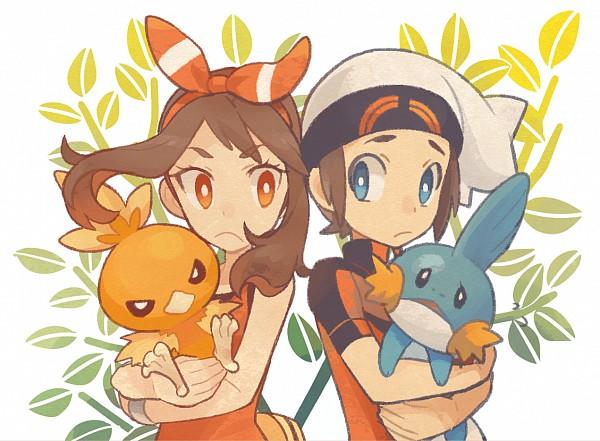 Tags: Anime, Pixiv Id 10022665, Pokémon, Torchic, Yuuki (Pokémon), Mudkip, Haruka (Pokémon), PNG Conversion, Pixiv, Fanart, Fanart From Pixiv