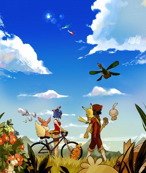 Tags: Anime, Pixiv Id 1920712, Pokémon, Wurmple, Flareon, Castform, Sasuka Kinomiya, Torchic, Fan Character, Satoshi (Pokémon), Tropius, Roselia, Original Trainer