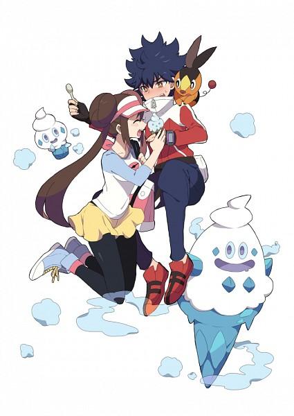 Tags: Anime, remotarou, Pokémon, Vanillite, Mei (Pokémon), Vanillish, Tepig, Hue, Fanart From Pixiv, Pixiv, Mobile Wallpaper, PNG Conversion, Fanart