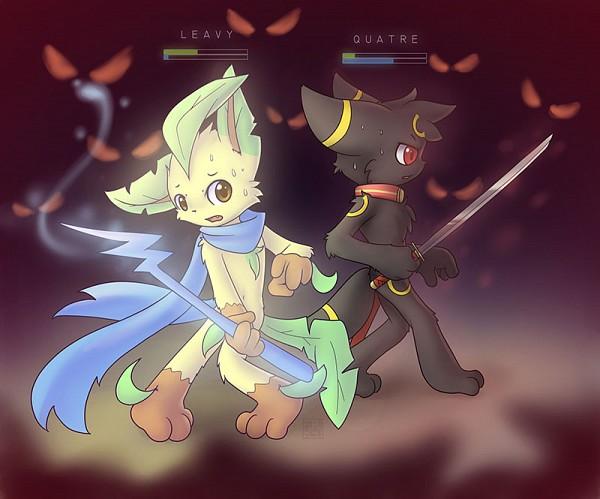 Tags: Anime, Pixiv Id 6915087, Pokémon, Leafeon, Umbreon, Pixiv, Fanart From Pixiv, Fanart