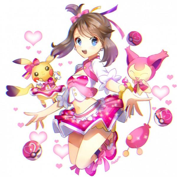 Tags: Anime, Seelun, Pokémon, Skitty, Haruka (Pokémon), Pikachu, Fanart From Pixiv, Pixiv, PNG Conversion, Fanart