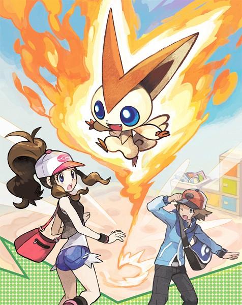 Tags: Anime, Oomura Yusuke, GAME FREAK, Nintendo, Pokémon, Touko (Pokémon), Victini, Touya (Pokémon), PNG Conversion, Legendary Pokémon, Official Art