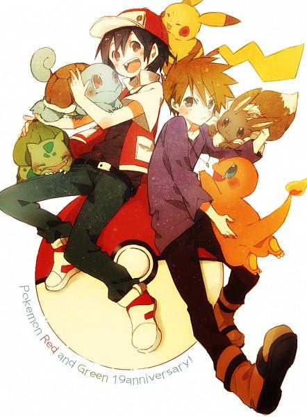 Tags: Anime, Pixiv Id 1769341, Pokémon Red & Green, Pokémon, Pikachu, Red (Pokémon), Charmander, Squirtle, Bulbasaur, Eevee, Green (Pokémon), Pixiv, Fanart From Pixiv