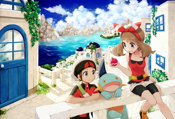Tags: Anime, csnel, Pokémon, Haruka (Pokémon), Yuuki (Pokémon), Marshtomp, Fanart From Pixiv, Pixiv, PNG Conversion, Fanart