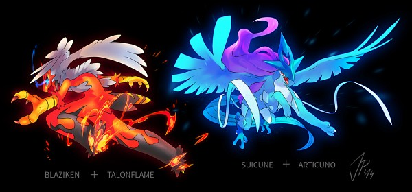 Tags: Anime, Cat-meff, Pokémon, Talonflame, Articuno, Suicune, Blaziken, Character Fusion, Legendary Pokémon, Fanart, Tumblr, Facebook Cover, PNG Conversion