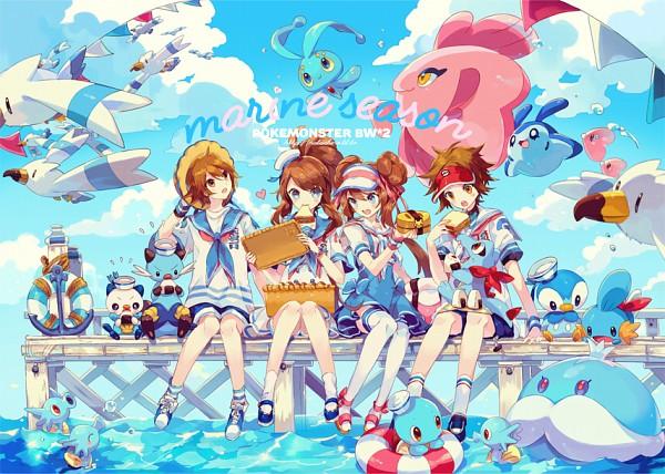 Tags: Anime, Welchino, Pokémon, Totodile, Horsea, Wingull, Alomomola, Mantyke, Piplup, Touko (Pokémon), Jellicent, Mudkip, Touya (Pokémon)