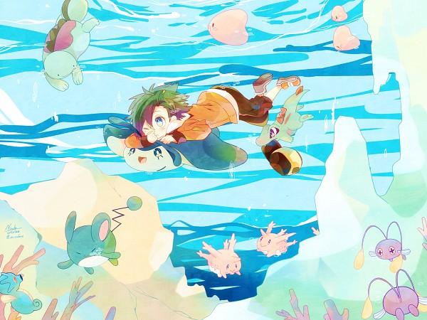Tags: Anime, Sako U, Pokémon Gold & Silver, Pokémon, Corsola, Luvdisc, Chinchou, Horsea, Marill, Mantyke, Totodile, Quagsire, Hibiki (Pokémon)