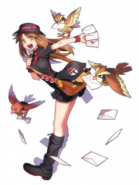 Tags: Anime, Toujima Juugo, Pokémon, Spearow, Leaf (Pokémon), Pidgey, Postman, Love Letter, Mobile Wallpaper, Fanart, Fanart From Pixiv, Pixiv