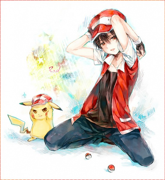 Tags: Anime, Salay, Pokémon, Red (Pokémon), Pikachu, Fanart, Fanart From Pixiv, Pixiv, PNG Conversion