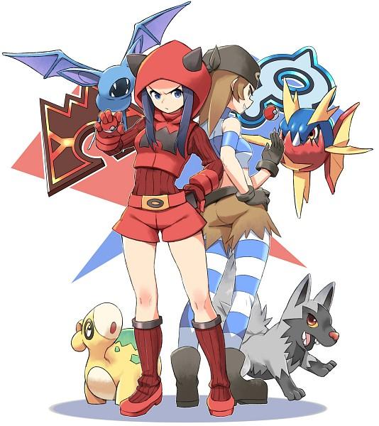 Tags: Anime, Pixiv Id 1757554, Pokémon, Numel, Team Magma Underling, Poochyena, Team Aqua Underling (Female), Carvanha, Zubat, Brown Shorts, Red Shorts, Pixiv, Fanart