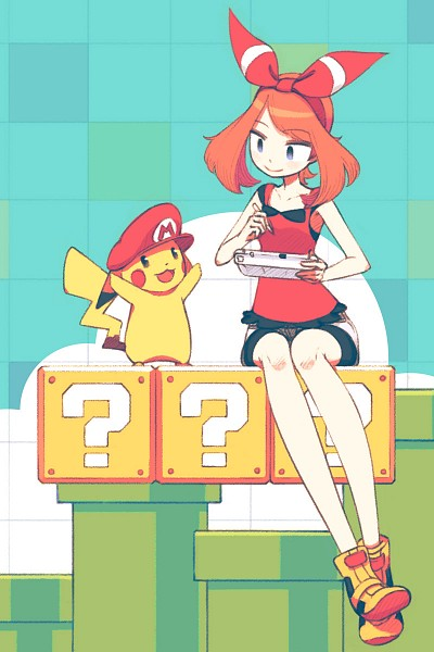 Tags: Anime, Pixiv Id 2114461, Pokémon, Haruka (Pokémon), Pikachu, Playing, Company Connection, Bike Shorts, Mario (Cosplay), Super Mario Bros. (Parody), Fanart, Fanart From Pixiv, Mobile Wallpaper