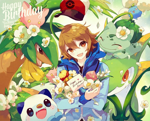 Tags: Anime, Welchino, Pokémon, Tropius, Jumpluff, Hoppip, Serperior, Bulbasaur, Touya (Pokémon), Oshawott, Berry, Fanart, PNG Conversion