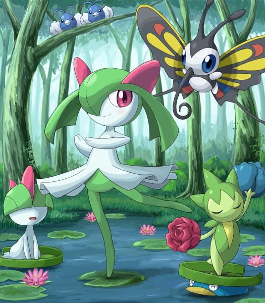 Tags: Anime, Soara, Pokémon, Roselia, Beautifly, Lotad, Swablu, Ralts, Kirlia, Lily Pads, Teal Flower, Fanart, PNG Conversion
