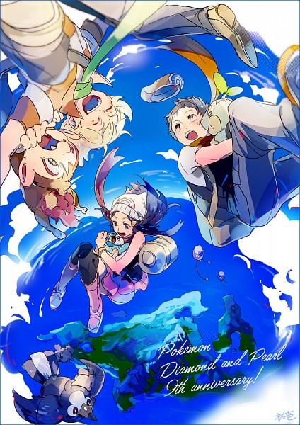 Tags: Anime, Yuuichi Bobobo, Pokémon, Jun (Pokémon), Starly, Kouki (Pokémon), Chimchar, Piplup, Drifloon, Hikari (Pokémon), Turtwig, Orange Neckwear, Mobile Wallpaper