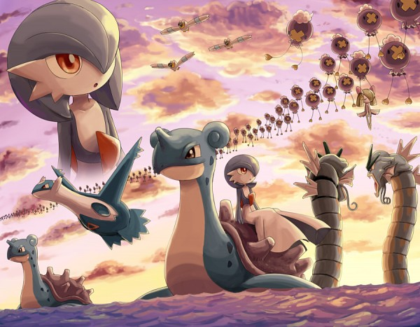 Tags: Anime, Soara, Pokémon, Drifloon, Gardevoir, Gyarados, Kirlia, Lapras, Wingull, Latios, X (Symbol), PNG Conversion, Fanart
