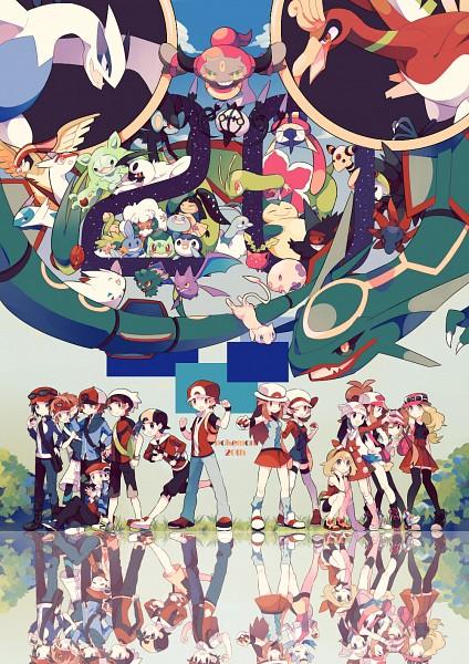 Tags: Anime, Pixiv Id 4280606, Pokémon, Rayquaza, Flygon, Reuniclus, Kris (Pokémon), Hoppip, Greninja, Pidgeot, Luxray, Chandelure, Yuuki (Pokémon)