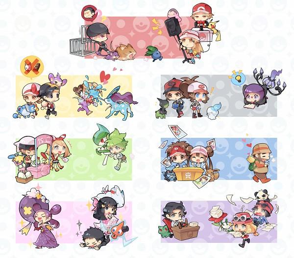 Tags: Anime, Pixiv Id 842378, Pokémon, Pikachu, Red (Pokémon FireRed and LeafGreen), Kouki (Pokémon), Rotom, Hiker (Pokémon), Gallade, Drifblim, Sakaki (Pokémon), Marill, Serena (Pokémon)
