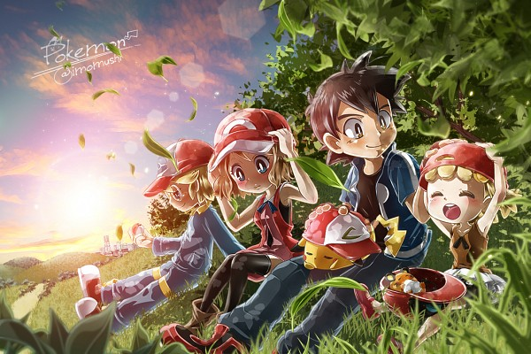Tags: Anime, Pixiv Id 9001433, Pokémon, Pikachu, Eureka (Pokémon), Citron (Pokémon), Serena (Pokémon), Satoshi (Pokémon), Pixiv