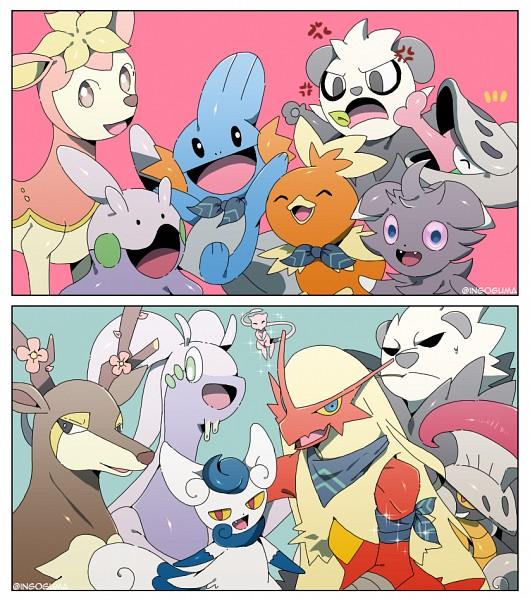 Tags: Anime, Pixiv Id 3166632, Pokémon, Sawsbuck, Goomy, Mew, Shelmet, Deerling, Espurr, Escavalier, Torchic, Meowstic, Blaziken