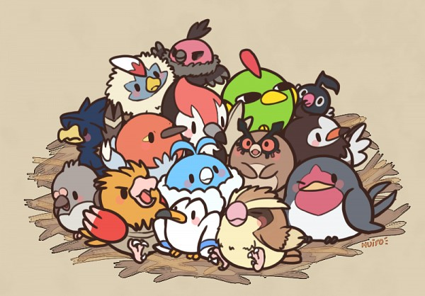Tags: Anime, Pixiv Id 763010, Pokémon, Hoothoot, Vullaby, Spearow, Pidove, Rufflet, Starly, Pikipek, Chatot, Murkrow, Fletchling