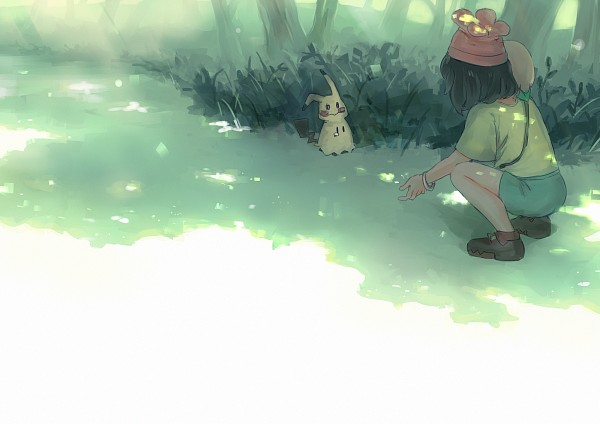 Tags: Anime, Ka-ruka, Pokémon Sun & Moon, Pokémon, Rowlet, Mimikyu, Female Protagonist (Pokémon Sun/Moon), Fanart, Fanart From Pixiv, PNG Conversion, Pixiv