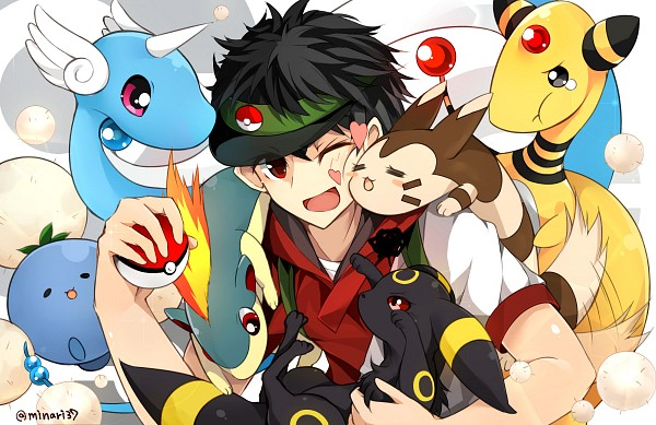 Tags: Anime, Pixiv Id 6543595, Pokémon, Quilava, Male Protagonist (Pokémon GO), Dragonair, Ampharos, Umbreon, Furret, Fanart, Fanart From Pixiv, Pixiv