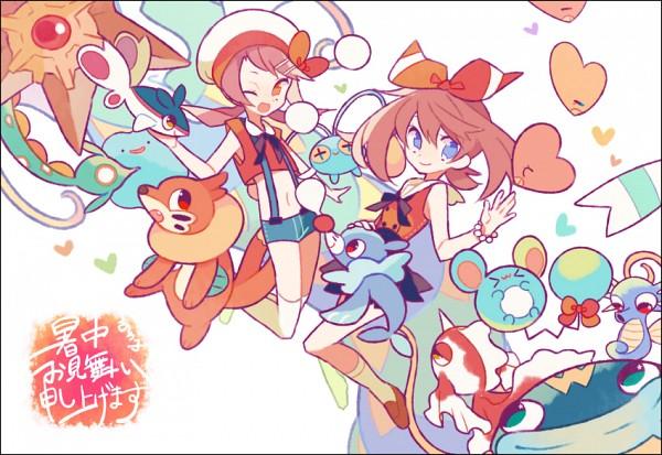 Tags: Anime, Pixiv Id 1481702, Pokémon, Kotone (Pokémon), Wailmer, Ditto, Popplio, Luvdisc, Goldeen, Chinchou, Horsea, Finneon, Buizel