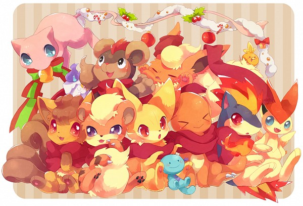Tags: Anime, Pixiv Id 3145151, Pokémon, Wooper, Vulpix, Torchic, Litleo, Mew, Quilava, Fennekin, Flareon, Litwick, Charmander