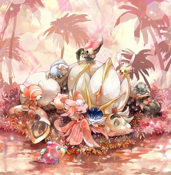 Tags: Anime, Pixiv Id 884938, Pokémon, Lurantis, Komala, Bruxish, Solgaleo, Stufful, Togedemaru, Sandygast, Cutiefly, Fomantis, Pikipek