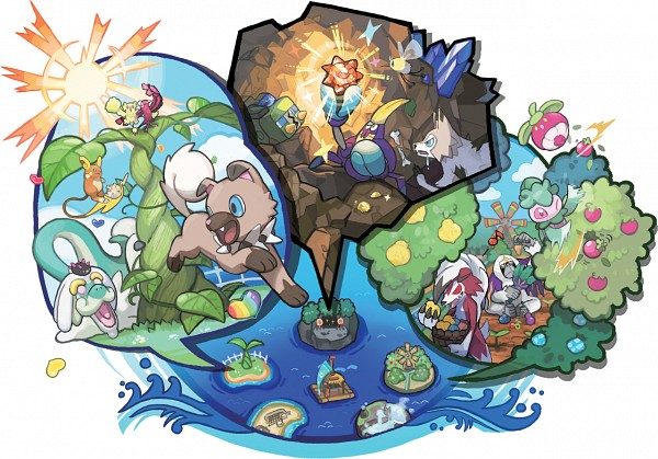 Tags: Anime, Oomura Yusuke, GAME FREAK, Nintendo, Pokémon, Fomantis, Togedemaru, Oranguru, Cutiefly, Lycanroc, Oricorio, Grubbin, Crabrawler