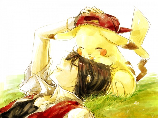 Tags: Anime, Pixiv Id 331936, Pokémon, Red (Pokémon), Pikachu, Pixiv, Fanart From Pixiv, PNG Conversion, Fanart