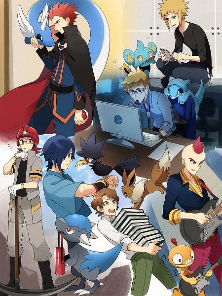 Tags: Anime, Pixiv Id 7411932, Pokémon Gold & Silver, Pokémon Sun & Moon, Pokémon, Murkrow, Dragonair, Mullein (Pokémon), Wataru (Pokémon), Hayato (Pokémon), Scraggy, Bill (Pokémon), Shinx